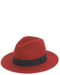 Dark Red Wool Blend Fedora