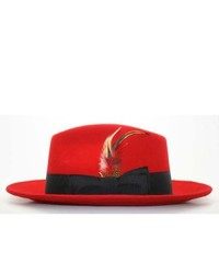 Ferrecci Red Black Fedora Hat