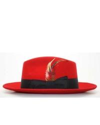 Ferrecci Red Black Fedora Hat