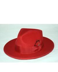 Ferrecci Red Wool Fedora Hat