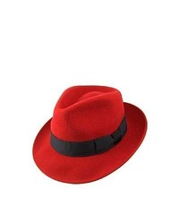 Jaxon Hats Pachuco Crushable C Crown Fedora Red