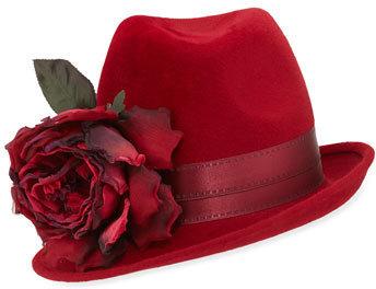 ... Red Wool Hats Philip Treacy Wool Side Sweep Fedora W Rosette Ruby ... e236fe980fd4