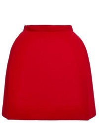 Red Wool Mini Skirt