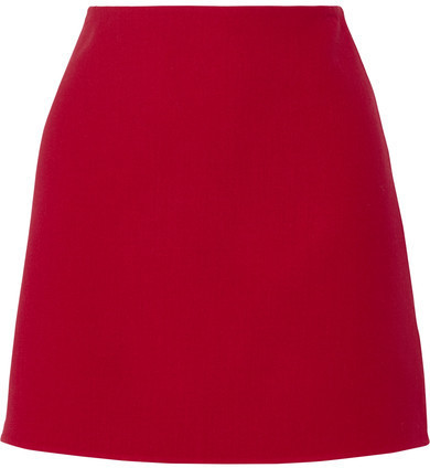 43e3797aed COM › Theory › Red Wool Mini Skirts Theory Irenah Saxton Stretch Wool Crepe Mini  Skirt Claret ...