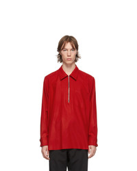 Camiel Fortgens Red Merino Felted Long Sleeve Polo