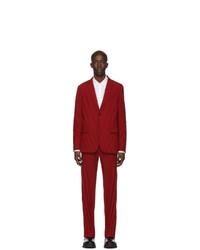 Valentino Red Plisse Suit