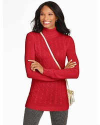 Talbots Button Cuff Cable Turtleneck Tunic Sweater