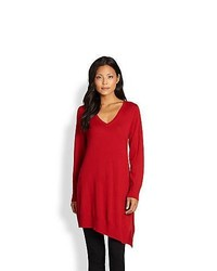 Eileen Fisher Asymmetric Merino Wool Tunic Red Lacquer