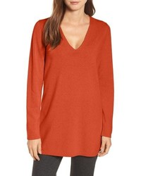 Eileen Fisher V Neck Cashmere Wool Tunic
