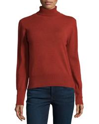 Carolina Herrera Long Sleeve Turtleneck Sweater Brick