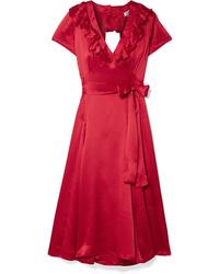 Rhode Celia Cutout Silk Wrap Dress