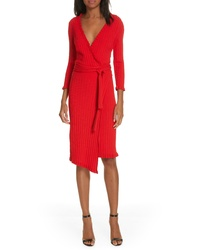Milly Ruffle Edge Ribbed Wrap Dress