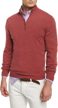 Brunello Cucinelli Cashmere Blend Half Zip Sweater Red | Where to ...