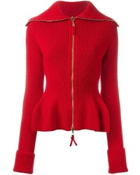 Alexander McQueen Peplum Zip Up Cardigan