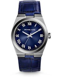 Reloj de cuero azul marino de Michael Kors