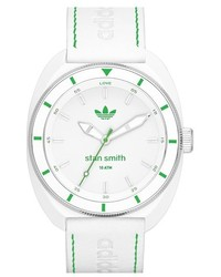 Reloj de cuero blanco de adidas