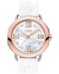 Reloj de cuero blanco de Fendi