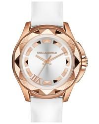 Reloj de cuero blanco de Karl Lagerfeld