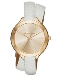 Reloj de cuero blanco de MICHAEL Michael Kors