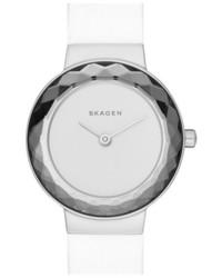 Reloj de cuero blanco de Skagen