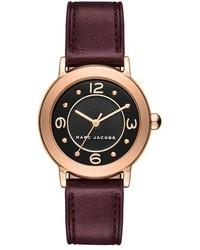 Reloj de cuero burdeos de Marc Jacobs