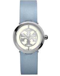 Reloj de cuero celeste de Tory Burch