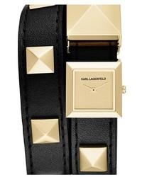 Reloj de cuero con tachuelas en negro y dorado de Karl Lagerfeld