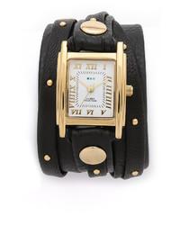 Reloj de cuero con tachuelas en negro y dorado de La Mer