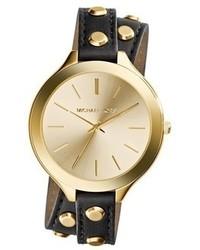 Reloj de cuero con tachuelas en negro y dorado de MICHAEL Michael Kors