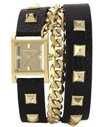Reloj de cuero con tachuelas en negro y dorado de Vince Camuto