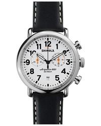 Reloj de cuero en blanco y negro de Shinola