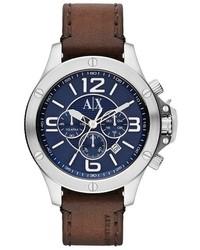 Reloj de cuero en marrón oscuro de Armani Exchange