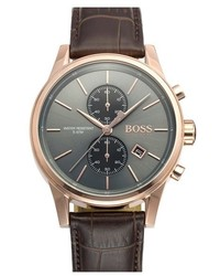 Reloj de cuero en marrón oscuro de BOSS