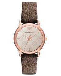 Reloj de cuero en marrón oscuro de Emporio Armani