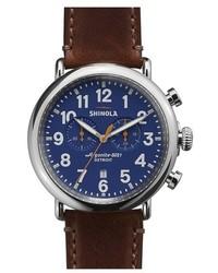 Reloj de cuero en marrón oscuro de Shinola