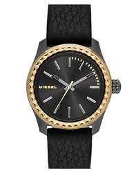Reloj de cuero en negro y dorado de Diesel