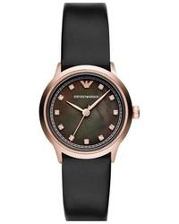 Reloj de cuero en negro y dorado de Emporio Armani
