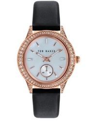 Reloj de cuero en negro y dorado de Ted Baker