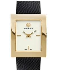 Reloj de cuero en negro y dorado de Tory Burch