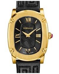 Reloj de cuero en negro y dorado de Versace