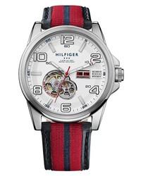 Reloj de cuero en rojo y azul marino de Tommy Hilfiger