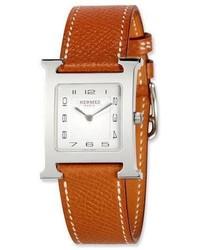Reloj de cuero en tabaco de Hermes