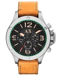 Reloj de cuero marrón claro de Armani Exchange