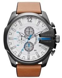 Reloj de cuero marrón claro de Diesel