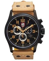 Reloj de cuero marrón claro de Luminox