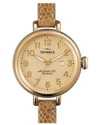 Reloj de cuero marrón claro de Shinola