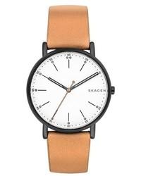 Reloj de cuero marrón claro de Skagen