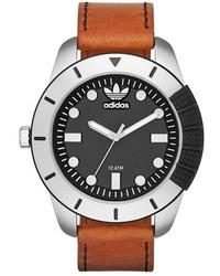 Reloj de cuero marrón de adidas