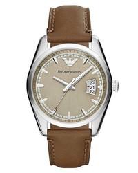 Reloj de cuero marrón de Emporio Armani