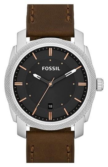 Reloj de cuero marrón de Fossil